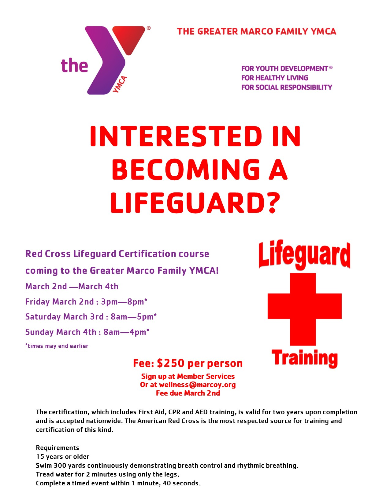 Red cross lifeguard certification greater marco family ymca red cross lifeguard certification 1betcityfo Gallery