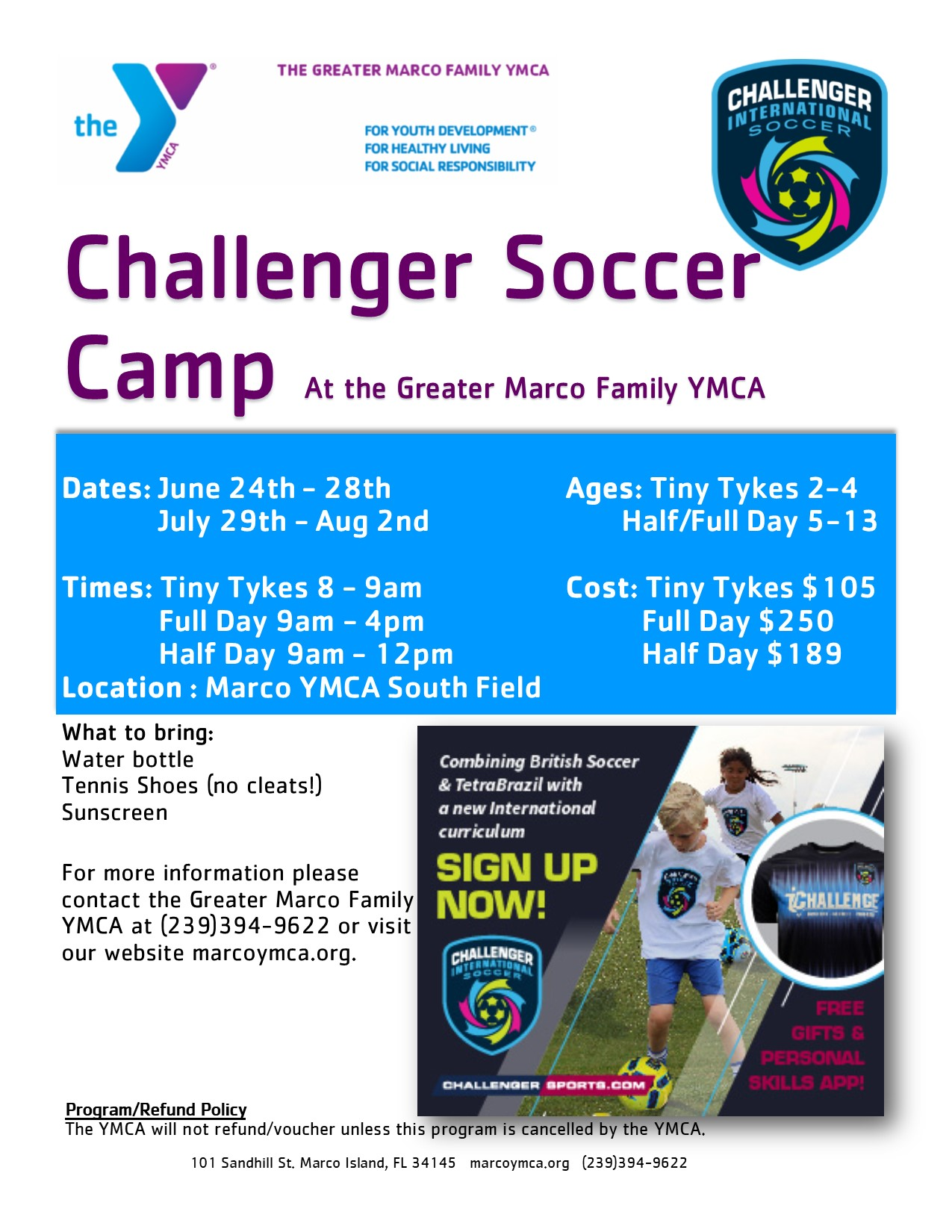 YMCA Challenger Soccer Camp
